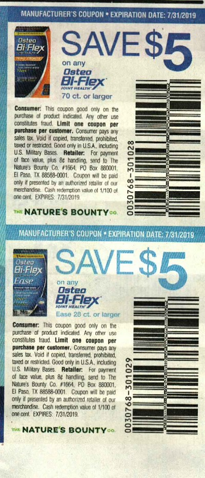 15 Coupons $5/1 Osteo Bi Flex 70ct + $5/1 Osteo Bi Flex Ease 28ct 7/31/2019