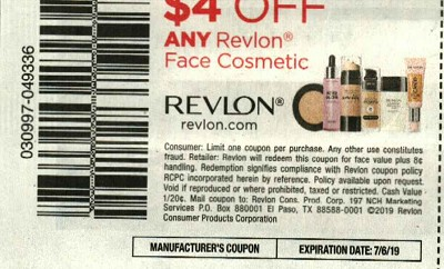 15 Coupons $4/1 Revlon Face Cosmetic 7/6/2019
