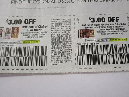 15 Coupons $3/1 Clairol Hair Color + 15 $3/1 Clairol Age Defy 5/12/2018