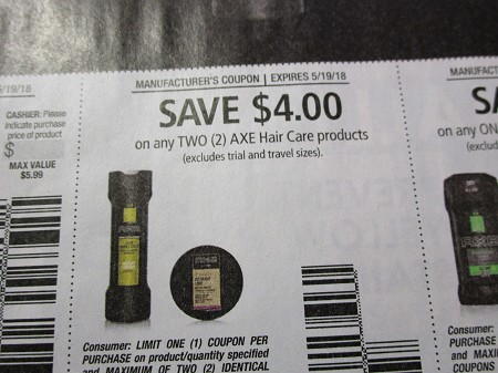 15 Coupons $4/2 Axe Hair C2are 5/19/2018