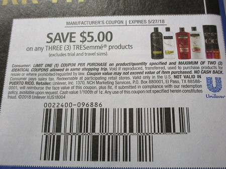 15 Coupons $5/3 Tresemme 5/27/2018