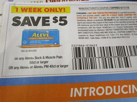 15 Coupons $5/1 Aleve Back & Muscle Pain 50ct or Aleve or PM 40ct 6/17/2018