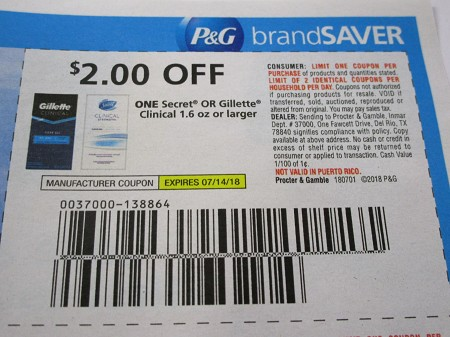 15 Coupons $2/1 Secret or Gillette Clinical 1.6oz 7/14/2018
