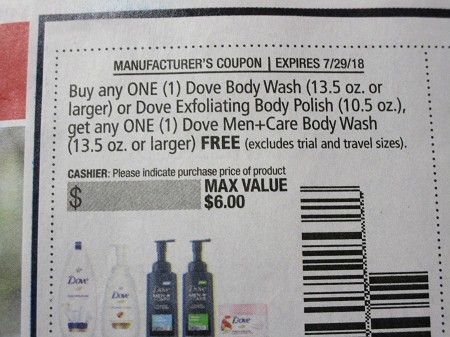 15 Coupons Buy 1 Dove Body Wash 13.5oz or Exfoliating Body Polish Get 1 Dove Men+Care 13.5oz FREE 7/29/2018