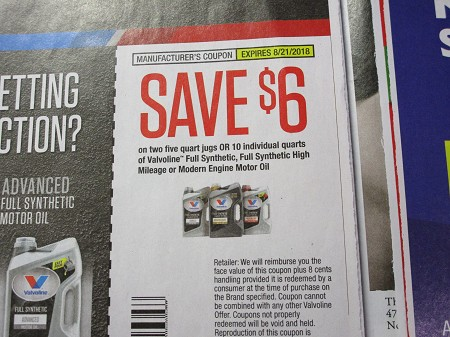 15 Coupons $6/2 Five Quart Jugs or 10 Singles Valvoline Full Synthetic Motor Oil 8/21/2018