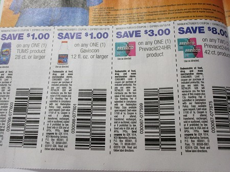 15 Coupons $1/1 Tums 28ct + 1 5$1/1 Gaviscon 12oz + 15 $3/1 Prevacid 24HR 8/15/2018+ 15 $8/2 Prevacid 24HR 42ct+ 7/29/2018