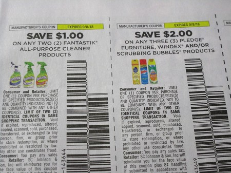 15 Coupons $1/2 Fantastik All Purpose Cleaner + 15 $2/3 Pledge Windex or Scrubbing Bubbles 9/8/2018