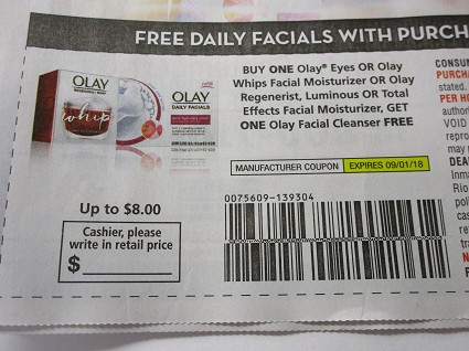 15 Coupons Buy 1 Olay Eyes or Olay Whips Facial Moisturizer or Regenerist, Luminous or Total Effects Get 1 Olay Facial Cleanser FREE 9/1/2018