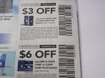 15 Coupons $3/1 Clear Care or Plus Solution 12oz + 15 $6/1 Clear Care or Plus Twin Pack 9/1/2018