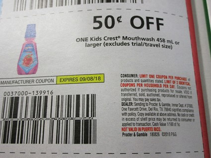 15 Coupons $.50/1 Kids Crest Mouthwash 458ml 9/8/2018