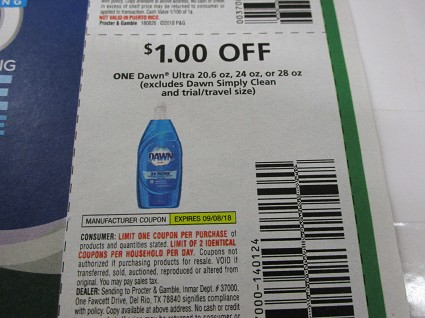 15 Coupons $1/1 Dawn Ultra 20.6oz, 24oz or 28oz 9/8/2018