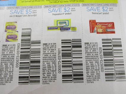 15 Coupons $5/1 Nexium 24hr 28 or 42ct + 2/1 Preparation H + $2/1 Thermacare 9/2/2018