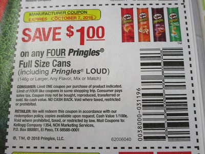 15 Coupons $1/4 Pringles Full Size cans 10/7/2018