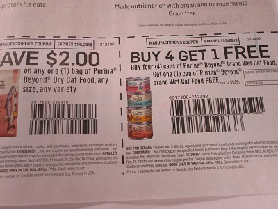 15 Coupons $2/1 Purina Beyond Dry Cat Food +  Buy 4 Get 1 Free Purina Beyond Wet Cat Food cans 11/5/2018