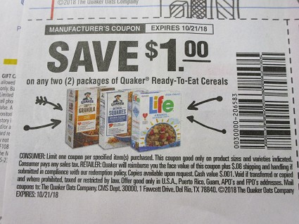 15 Coupons $1/2 Quaker Ready to Eat Cereals 10/21/2018