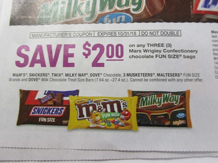 15 Coupons $2/3 Snickers, M&M's Twix Milky Way Dove fun Size DND 10/31/2018