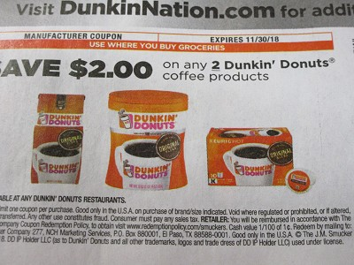 15 Coupons $2/2 Dunkin Donuts Coffee Products 11/30/2018