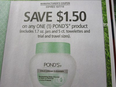 15 Coupons $1.50/1 Pond's Product 10/7/2018