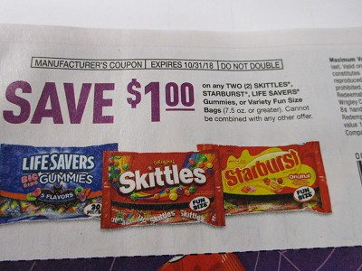 15 Coupons $1/2 Skittles Starburst Life Savers Gummies DND 10/31/2018