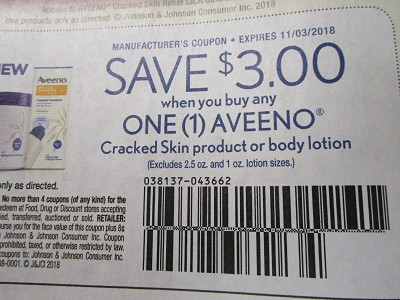 15 Coupons $3/1 Aveeno Cracked Skin or Body Lotion 11/3/2018