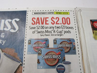 15 Coupons $2/2 Swiss Miss K Cups Pods Boxes 12/7/2018