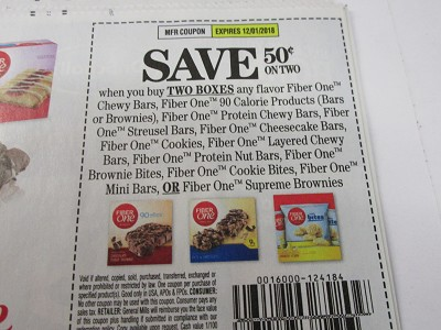 15 Coupons $.50/2 Fiber One Chewy Bars 12/1/2018