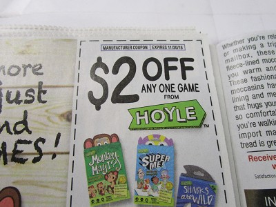 15 Coupons $2/1 Hoyle Game 11/30/2018