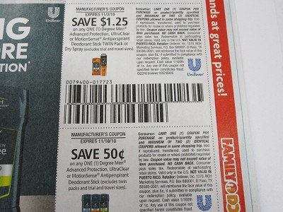 15 Coupons $1.25/1 Degree Men Advanced Protection UltraClear or Motionsense 11/3/2018 + $.50/1 Degree Men Advanced Protection Ultraclear or Motionsense 11/18/2018