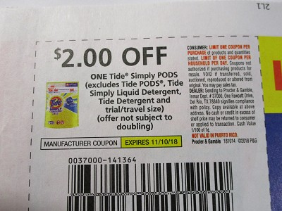 15 Coupons $2/1 Tide Simply Pods 11/10/2018