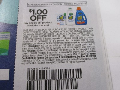 15 Coupons $1/1 All Product 11/25/2018