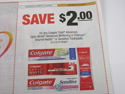 15 Coupons $2/1 Colgate Advanced Optic White Platinum Enamel or Sensitive Toothpaste 11/17/2018