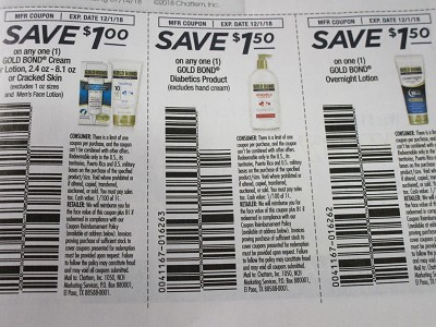 15 Coupons $1/1 Gold Bond Cream or Lotion + $1.50/1 Gold Bond Diabetics + $1.50/1 Gold Bond Overnight Lotion 12/1/2018