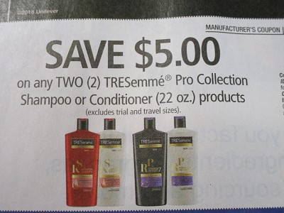 15 Coupons $5/2 Tresemme Pro Collection Shampoo or Conditioner 11/18/2018