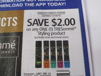15 Coupons $2/1 Tresemme Styling 11/18/2018