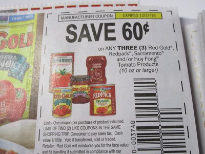15 Coupons $.60/3 Red Gold Redpack Sacramento or Huy Fong Tomato 10oz 12/31/2018