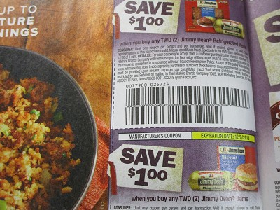 15 Coupons $1/2 Jimmy Dean Refrigerated + $1/2 Jimmy Dean Items 12/9/2018