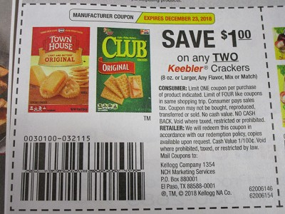 15 Coupons $1/2 Keebler Crackers 8oz 12/23/2018