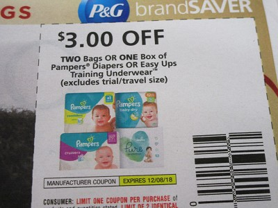 15 Coupons $3/2 bags or 1 box Pampers Diapers or Easy Ups Training Underwear 12/8/2018
