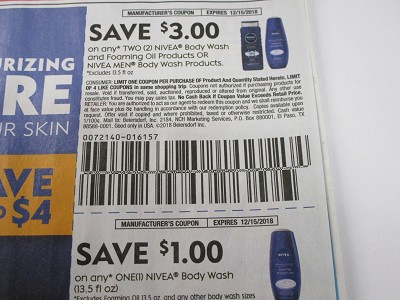 15 Coupons $3/2 Nivea Body Wash and Foaming Oils or Men Body Wash + $1/1 Nivea Body Wash 12/15/2018