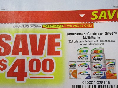 15 Coupons $4/1 Centrum or Centrum Silver 60ct or Multi+ Probiotics 30ct 1/20/2019