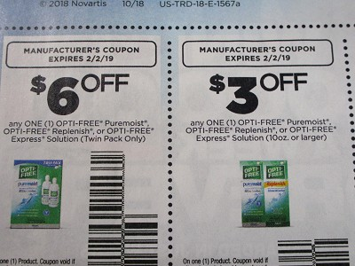 15 Coupons $6/1 Opti Free Puremoist, Replenish or Express Solution Twin Pack + $3/1 Puremoist, Replenish or Express Solution 10oz + 2/2/2019