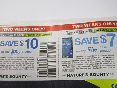 15 Coupons $10/1 Osteo Bi Flex Product + $7/1 Osteo Bi Flex Ease 1/20/2019