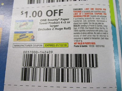 15 Coupons $1/1 Bounty Paper Towel 4ct 1/12/2019