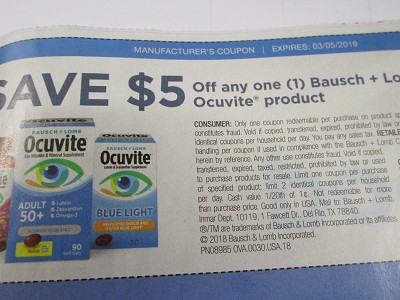 15 Coupons $5/1 Bausch + Lomb Ocuvite 3/5/2019