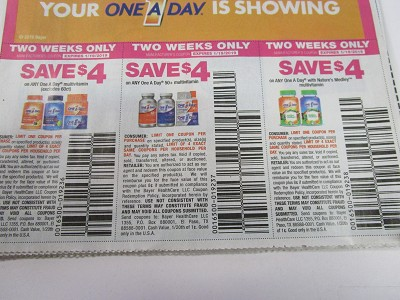 15  Coupons $4/1 One A Day Multivitamin + $4/1 One A Day 50+ Multivitamin + $4/1 One a Day with Nature's Medley 1/19/2019