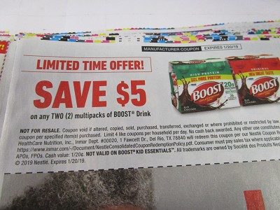 15 Coupons $5/2 Multipacks Boost Drink 1/20/2019