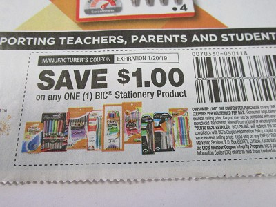 15 Coupons $1/1 Bic Stationery 1/20/2019 DND