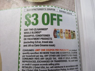 15 Coupons $3/2 Garnier Whole Blends Shampoo Conditioner or Treatment 2/23/2019