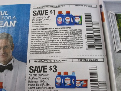 15 Coupons $1/1 Persil ProClean + $3/1 Persil ProClean Laundry Detergent 100oz Power Liquid  / 38ct Power Caps 3/3/2019