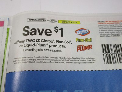 15 Coupons $1/2 Clorox Pine Sol or Liquid Plumr 4/7/2019